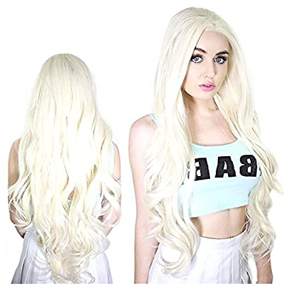 COLODO Natural Wavy Highlight Perruque Blonde Wig Hairline Lady GaGa Long Style Medium Synthetic Lace Front Wigs Cosplay Wigs