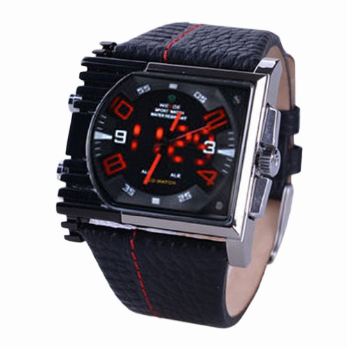 Weide Analog-Digital Irregular Black Dial Men Watch With Big Red Hands & Numbers