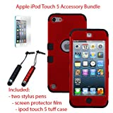 MINITURTLE, Premium Sleek Dual Layer 2 in 1 Hybrid Protective TUFF Case Cover, Two Mini Stylus Pen, and Screen Protector Film for Apple iPod Touch 5 5th Generation (Red / Black)