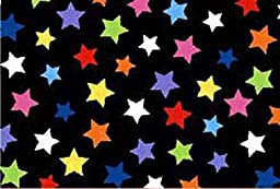 SheetWorld Fitted Pack N Play (Graco Square Playard) Sheet - Primary Colorful Stars On Black Woven - Made In USA