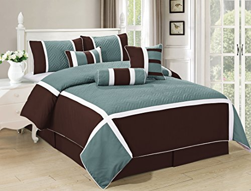 All American Collection New 7 Piece Embroidered Over-sized Comforter Set (Queen, Turquoise/Brown)