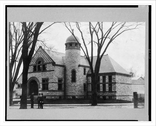 Historic Print: Exterior of public library, Dedham
