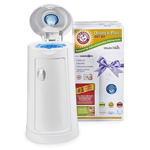 Munchkin Arm Hammer Diaper Pail Set With 75 Count Refill, 2 Baking Soda Cartridges And $20 Coupon Booklet front-626095