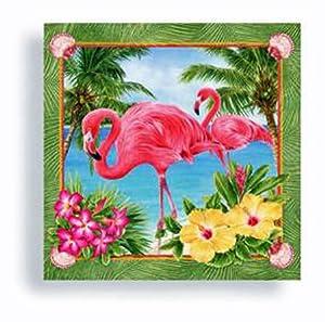 Tiki Tropical Palm Pink Flamingo Beverage Napkins