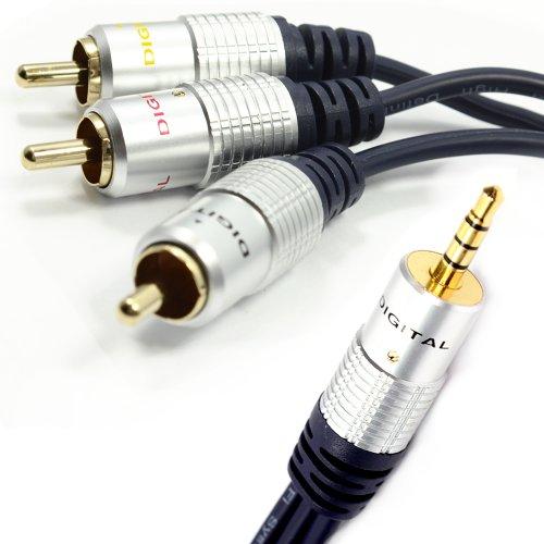 Reines Kupfer HQ OFC 3,5 mm Klinkenstecker Zum 3 Cinch 4 Polig AV Ausgang TV Kabel Anschlusskabel 1,5 m