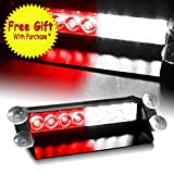 DIYAH 8 LED Warning Caution Car Van Truck Emergency Strobe Light Lamp For Interior Roof Dash Windshield (Red and White)