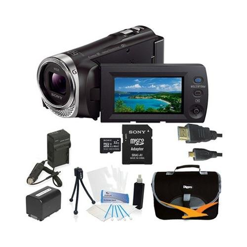 Sony Hdrpj340/B Hdr-Pj340 Hdr-Pj340B Hdrpj340 Video Camera With 2.7-Inch Lcd (Black) Bundle With 32Gb High Speed Micro Sd Card, Spare High Capacity Battery, Ac/Dc Charger, Table Top Tripod, Padded Case, Micro Hdmi Cable, Lcd Screen Protectors, And Lens Cl