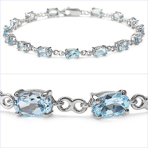 Jewelry-Schmidt-Precious Blue Topaz Bracelet 925 Silver-Rhodium-9, 75 carats