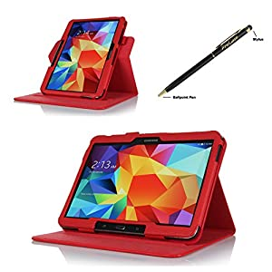 ProCase Samsung Galaxy Tab 4 (10 inch) Dual View Case (horizontal and vertical display) - Rotating Stand Folio Cover Case for Galaxy Tab 4 10.1 (2014 released) with auto Sleep/Wake, and bonus Stylus Pen, also compatible with Galaxy Tab 3 10.1 (Red) by Pro