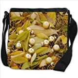 Golden Christmas Balls Autumn Fallen Leaves Small Denim Shoulder Bag / Handbag