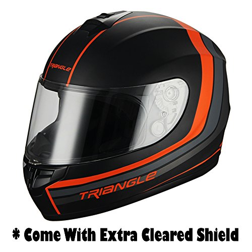 Full Face Matte Black/Orange Street Bike Motorcycle Helmet by Triangle [DOT] (Medium) (Youth Full Face Helmets compare prices)