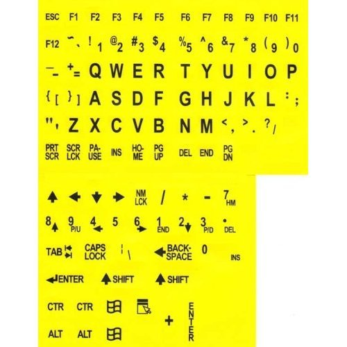 Large Print Key-Top Stickers - Black On Yellow Background, Non-Transparent Oversized Characters Keyboard Stickers For The Visually Impaired And Low Vision