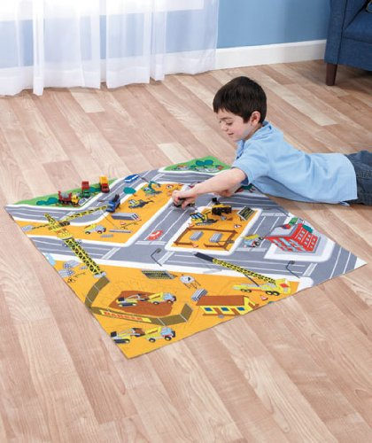 Road Playmats with Cars 6 Vehicles Playset Construction - 1