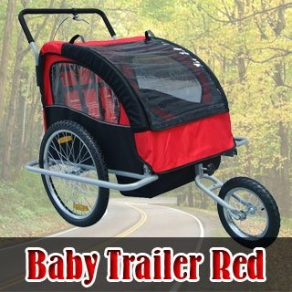 Frugah NEW Red 2in1 Double Baby Bike Bicycle Stroller Trailer with Hand Brake System