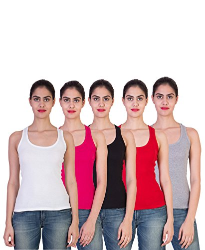 2DAY Womens Stylish, Comfy Tank top White/Fushia/Black/Red/Grey (Pack of 5)