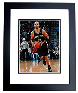 Tony Parker Autographed Hand Signed San Antonio Spurs 8x10 Photo - BLACK CUSTOM FRAME by Real Deal Memorabilia