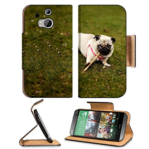 Pug Dog Grass Collar Walk Sit Htc One M8 Flip Case Stand Magnetic Cover Open Ports Customized Made To Order Support Ready Premium Deluxe Pu Leather 6 4/16 Inch (158Mm) X 3 4/16 Inch (82Mm) X 9/16 Inch (14Mm) Liil Htc1 Cover Professional M 8 Cases M_8 Acce front-517559