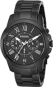 Fossil Men's FS4832 Grant Analog Display Analog Quartz Black Watch