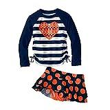 Vivo-biniya Kid Girl's Two-piece Swimsuits Long Sleeve Swimwear Blue 70-150cm (14(140-150cm)) thumbnail
