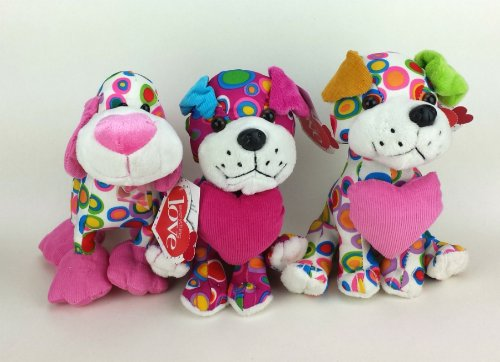 Set of 3 Joyful Spotted Plush Puppies