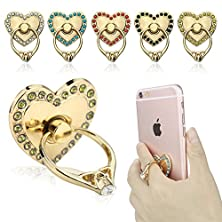 buy Phone Stand, Butefo Luxury Updated Re-Usable Metal Stainless Phone & Tablet Anti Drop Ring Stand Holder With Diamonds For Iphone Ipod Ipad Samsung And More (Heart Shape_Yellow)