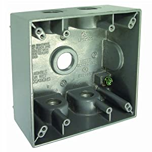 Hubbell Bell 5337-0 Two Gang 5-1/2-Inch Outlets Weatherproof Box, Gray