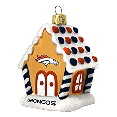 NFL Denver Broncos Football Gingerbread House Glass Christmas Ornament