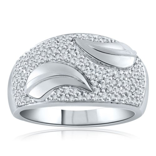 Sterling Silver Simulated Diamond Fashion Dome Ring