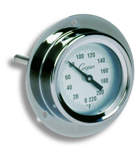 Cooper-Atkins 2225-02-5 Stainless Steel Bi-Metals Industrial Flange Mount Thermometer, 0 To 220 Degrees F Temperature Range