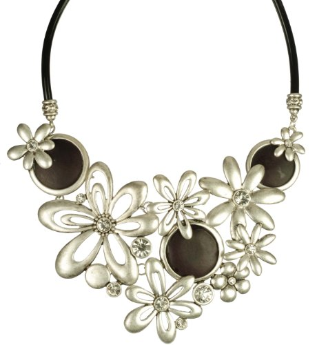Springtime Flowers with Wood Medallions and Rhinestones, Metal Casting Collar Necklace, 18