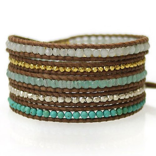 Chan Luu Chan Luu Aqua Jade Mix Wrap Bracelet on Natural Brown Leather