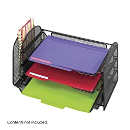 SAFCO PRODUCTS Mesh Desk Organizer, 1 Vertical/3 Horizontal Sections, 16 1/4 x 9 x 8, Black (3265BL) by Safco