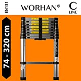 WORHAN® 3.2m (10' 5'') Single Telescopic Extendable Multipurpose Aluminium Ladder Robust Step Ladder (......3.2m C-line) 1K3.2C