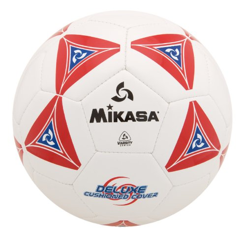 Mikasa Deluxe Soccer, Football, Futbol Ball Size 4-White With Red