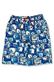 Contrast Drawstring Screen Print Swim Shorts