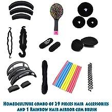 Homeoculture Combo Of 30 Hair Accessories 3 Donuts + 1 Rainbow Mirror Hair Brush + 1 Magic Puff + 2 Volumizer...