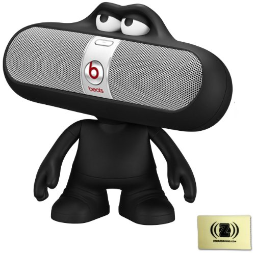 Beats By Dr. Dre Pill Portable Speaker System (Silver) Bundle With Black Pill Character Stand And Zorro Sounds Cleaning Cloth