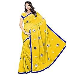 Prism Collection Chiffon Embroidered Saree (PRISM SARI 01_Yellow)