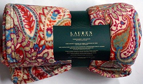 Ralph Lauren Plush Fleece Throw Blanket 60 X 70 Blue Green Purple Paisley Floral Pattern front-174589