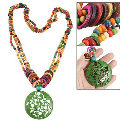 Rosallini Coconut Shell Green Hollow Out Flower Pendant Necklace
