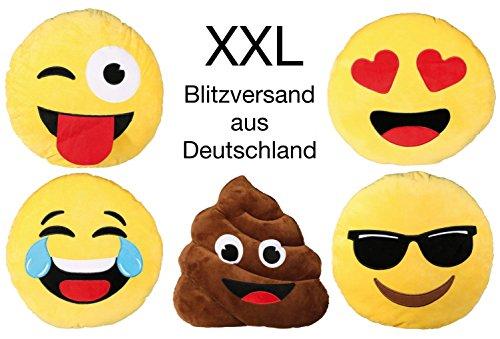 XXL-Emoji-Kissen-1014-Sonnenbrille--50-cm-gelbes-Schild-Emotion-Smiley-rund-Sofa-Couch-Kinder-Jugendliche-Whats-App-Tongue-Emotion-Sonnenbrille