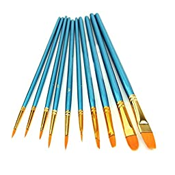 CP-HOPE 10pcs Nylon Hair Paint Brush Set for Watercolor Oil Acrylic Painting