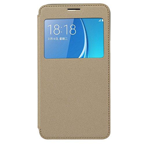Samsung Galaxy J7 - 6 2016 Version Flip Cover, Original Ziaon(TM) Super Series Single Window Flip Stand Case Samsung Galaxy J7 - 6 2016 Version - Golden White