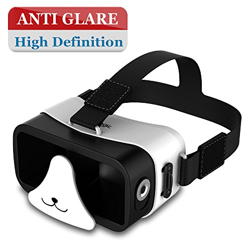 AMAZKER 3D Panda Mini VR Device With Magnetic Trigger for Gift for Child,Upgraded Ultra Light Portable Virtual Reality Headset Version Glasses for iPhone 6s Nexus 6 Samsung Galaxy s5 s6