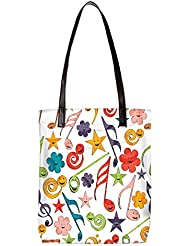 Snoogg Smiley Strings Womens Digitally Printed Utility Tote Bag Handbag Made Of Poly Canvas With Leather Handle