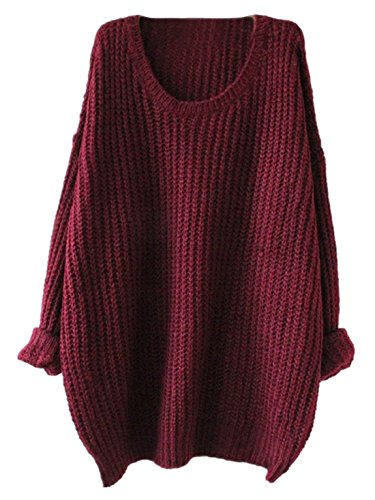 SheIn Women's Red Batwing Long Sleeve Loose Knit Sweater (one size, Red)