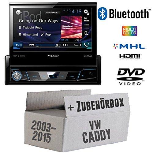 VW CADDY 2K-Pioneer avh-x2600bt X7800bt-1DIN de 7pouces USB Bluetooth DVD-Autoradio-Kit de montage