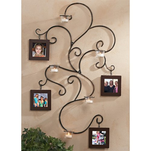 buy wall hanging vine photo collage wrought iron frame family pictures candle holder sconce art now - Wrought Iron Picture Frames