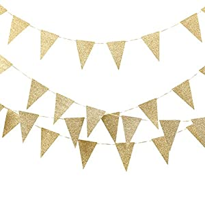 Ling's moment Triangle Flag Banner, 10Ft, 15pcs Flags, Glitter Gold from ling's moment