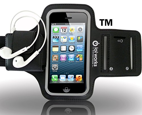 Iphone 5 Armband For Running, Biking, Jogging Exercise And Working Out By Ioi Works - 2 Free Bonuses! - Sporty Look For Women And Men - Fits Small To Xl Big Arms - Holster Case Sport Armband For Iphone 5/5S/5C With Soft Lycra Band + Key Holder - Credit Ca